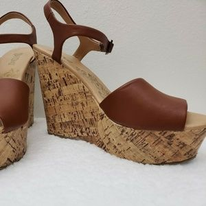 bed3635baca Brash Women s Cork Wedge Platform T-Strap Sandals